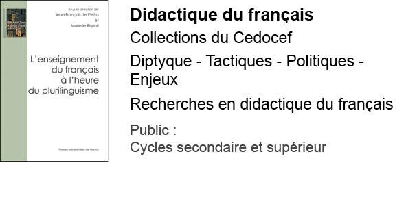 Didactique du français - collections du Cedocef
