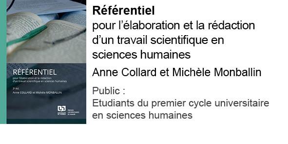 Référentiel pour l'élaboration et la rédaction d'un travail scientifique en sciences humaines